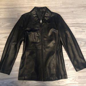 DKNY Women's Black Leather Jacket Coat, XS